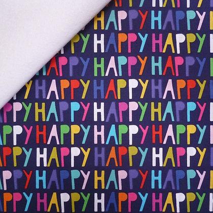 Fabric Felt :: Happy! :: Navy Words on White