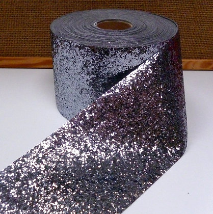 Chunky Glitter Ribbon :: 10cm Wide (by the m) :: Pewter