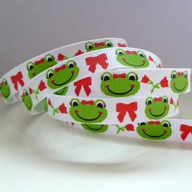 Narrow Printed Grosgrain :: Cute Frogs