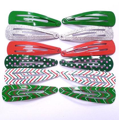 Colourful Hair Clips (x12) :: Christmas