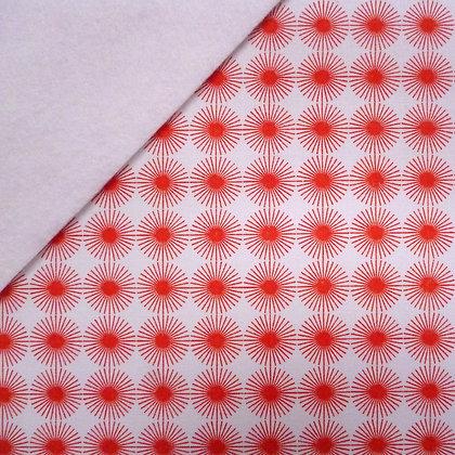 Fabric Felt :: Red Rosette on Natural