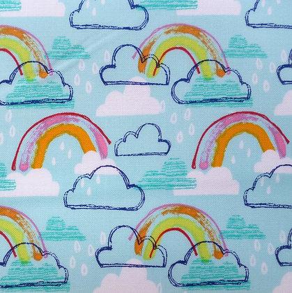 Fabric :: Rainbow Jubilee :: Sky Blue & Rainbows