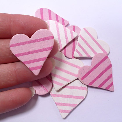 SALE :: Wooden Hearts :: Pink Stripes