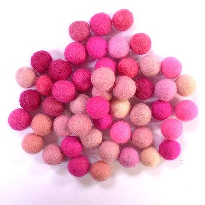 1.5cm Felt Ball Packs :: Pink (48x 1.5cm balls)