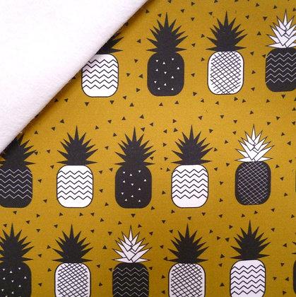 Artisan Fabric Felt :: Mustard Geo Pineapples on white