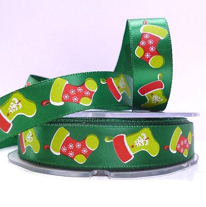 Satin Christmas Ribbon :: Green & Stockings