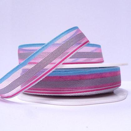 Sheer Stripe Ribbon :: Pink, Grey & Blue