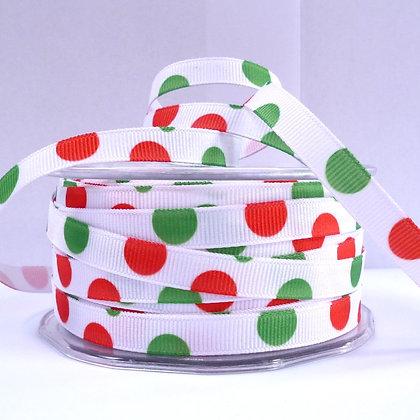 SALE :: Bubble Ribbon :: White + Red & Green