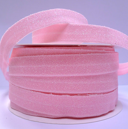 Glitter Fold Over Elastic :: Baby Pink