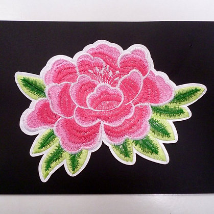 Extra LARGE Embroidered Motif :: Wild Pink Peony
