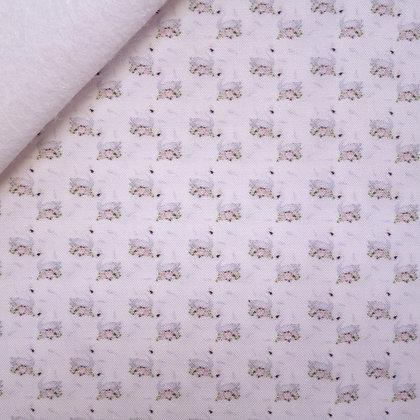 Artisan Fabric Felt :: The Tiniest Swans on White