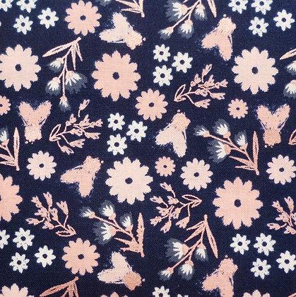 FQ SALE Fabric :: Blush :: Navy & Rose Gold Floral FAT QUARTER