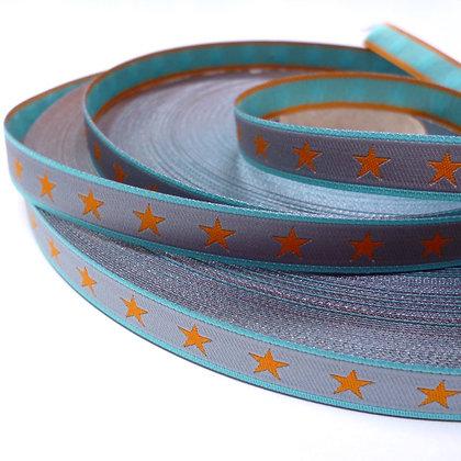 Embroidered Ribbon :: Orange Star on Grey