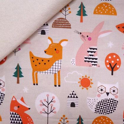Fabric Felt :: Geo Forest :: Multi Animals on Natural