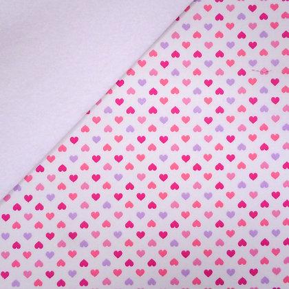 Fabric Felt :: Pink Hearts (on white) on White