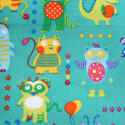 Fabric :: Corduroy :: Monsters On Turquoise