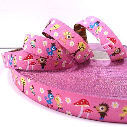 Embroidered Ribbon :: Pink Hedgehog Garden