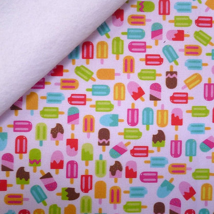 Artisan Fabric Felt :: Bright Ice Lollies (pale pink)  on White