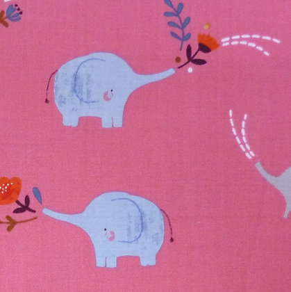Fabric :: Meadow Safari :: Coral Elephants