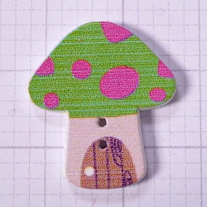 Wooden Mushroom Button :: Green & Pink