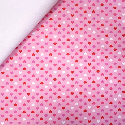 Fabric Felt :: Pink Hearts (on pink) on White