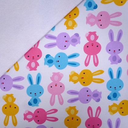 Fabric Felt :: Spring Bunnies on White LAST FEW