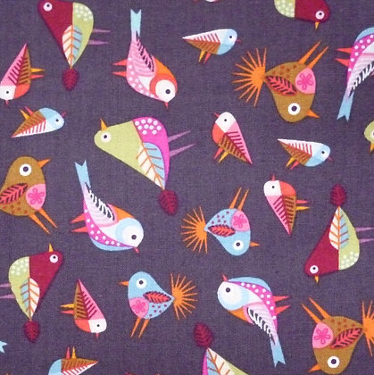 Fabric :: Stitching Birds :: Charcoal