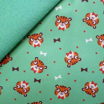 Artisan Fabric Felt :: Bowtie Tigers on Sea Green