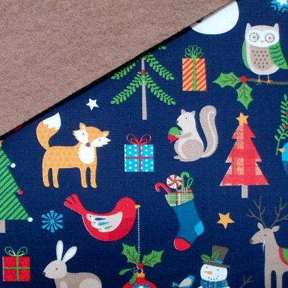 Fabric Felt :: Wide Christmas Navy on Teddy Bear
