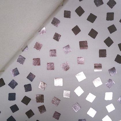 Fabric Felt :: Razzmatazz :: Silver Squares on Natural LAST FEW