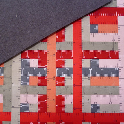 Fabric Felt :: Hipster Tape Measures Red on Charcoal LAST FEW