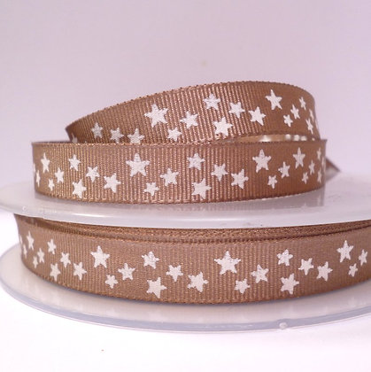Double Sided Star Ribbon :: Biscuit