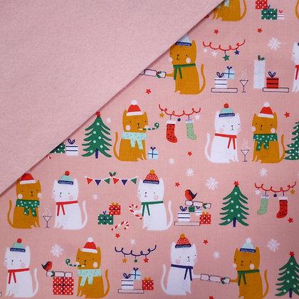 Fabric Felt :: Festive Friends Cracker Cats on Blush LAST FEW