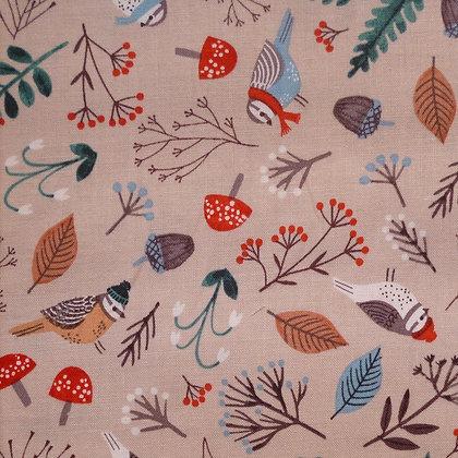 Fabric :: Dreaming of Snow :: Light Khaki Birds & Branches