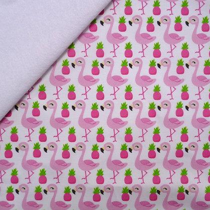 Artisan Fabric Felt :: Pink Flamingos & Pineapples on White