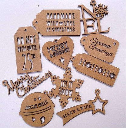 Wooden Christmas Shapes In A Box