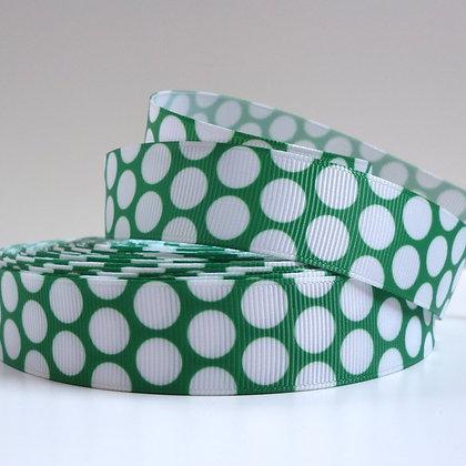 Big White Dot Ribbon :: Dark Green