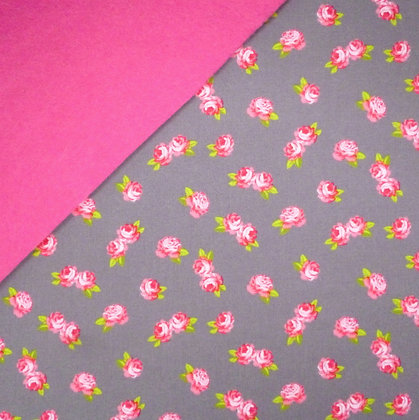 Fabric Felt :: Pink Roses (on Grey) on Candy Pink