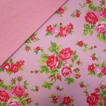Fabric Felt :: Pink Chintz Roses on Baby Pink LAST FEW