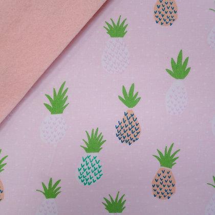 Fabric Felt :: Pink Tropical Pineapples on Blush