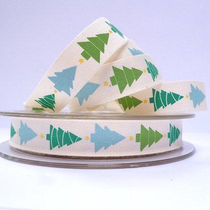 NEW Cotton Christmas Ribbon :: Aqua Trees