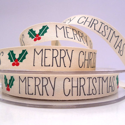 2017 Cotton Christmas Ribbon :: Merry Christmas & Holly