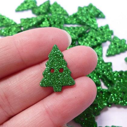 Glittery Christmas Tree Button