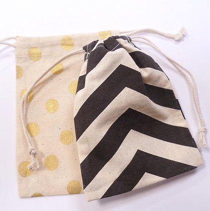 Drawstring Bags :: Black Chevron & Foil Dot