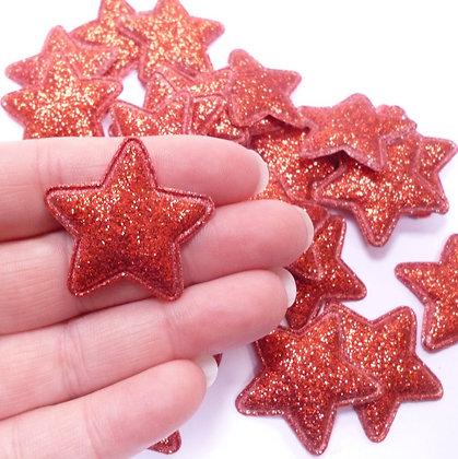 Fine Glitter Stars :: RED :: pack of 28