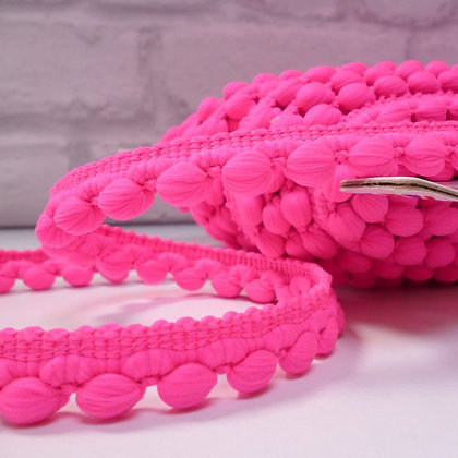 Bobble Trim :: by the metre :: Neon Pink