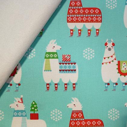 Fabric Felt :: Llama Christmas :: Felicia (the llamas) on White