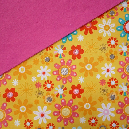 Fabric Felt :: Bright Yellow Flower on Candy Pink