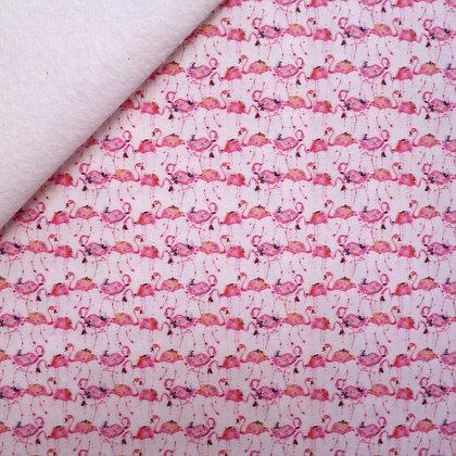 Artisan Fabric Felt :: Watercolour Flamingoes on White