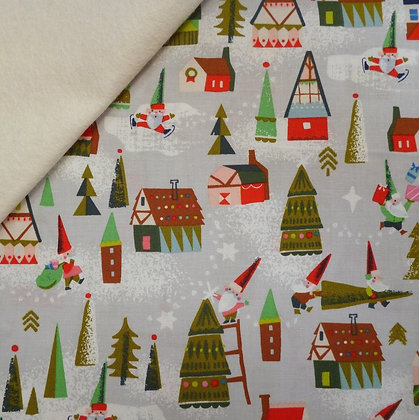 Fabric Felt :: Way Up North :: Elf Houses Grey on Natural